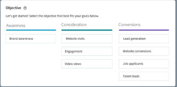 Objectifs de campagne Linkedin Ads