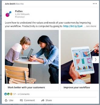 Exemple de contenu sponsorisé Linkedin