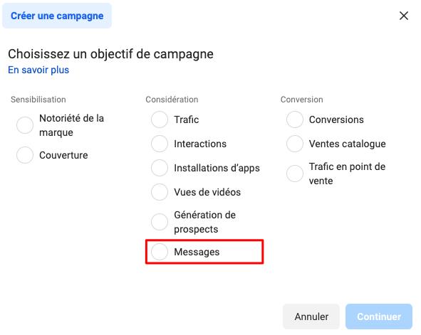 Objectifs de considération - génération de messages